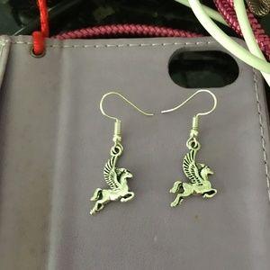 Sterling silver unicorn  hanging earrings